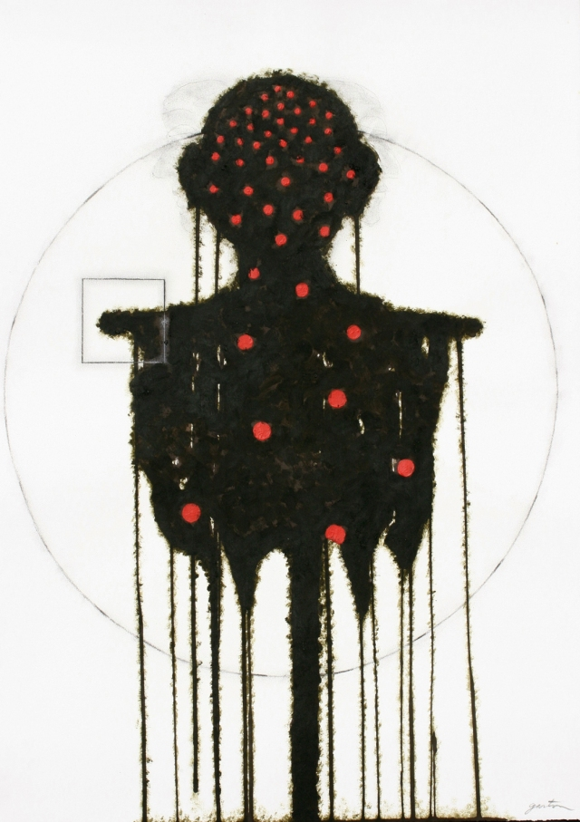 Denis Gaston, Death of Vitruvian Man, mixed media on paper (used by permission  of the artist)