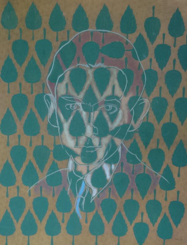 Mark Kerstetter, Kafka/Leaves, oil sketch on paper