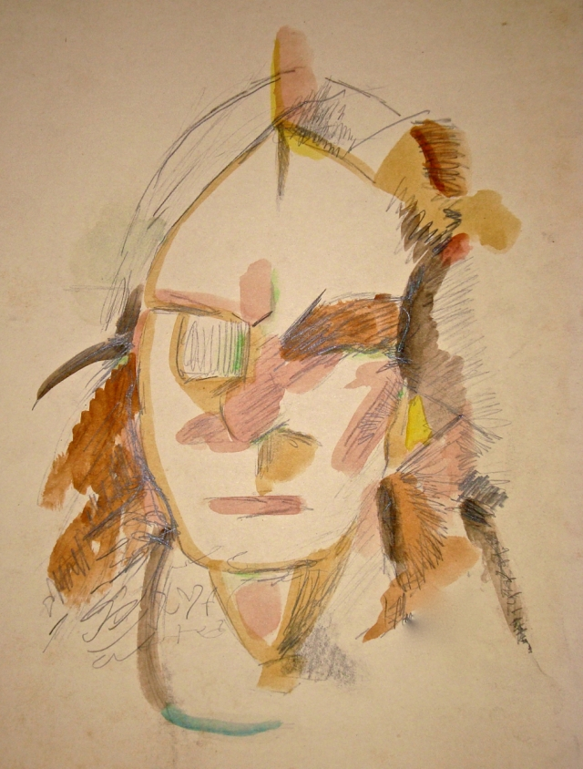 This portrait in watercolor and pencil was based on a girl I knew, but any distinguishing features seemed to have been scribbled or written over.