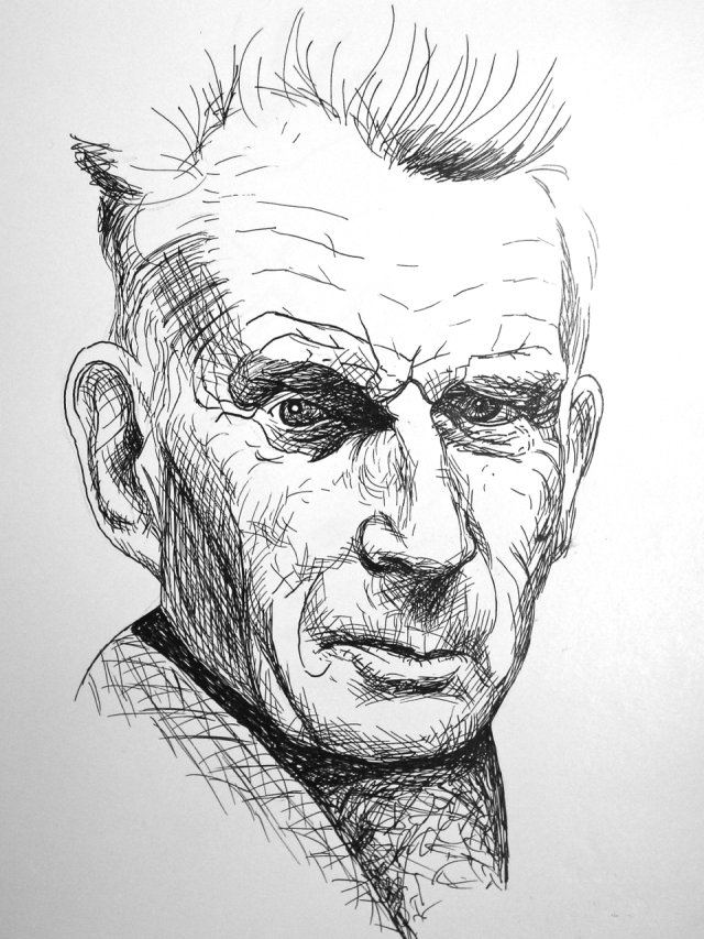 Samuel Beckett, ink by Mark Kerstetter