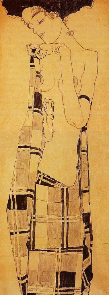Egon Schiele, Standing Girl in Plaid Garment, source: WikiPaintings