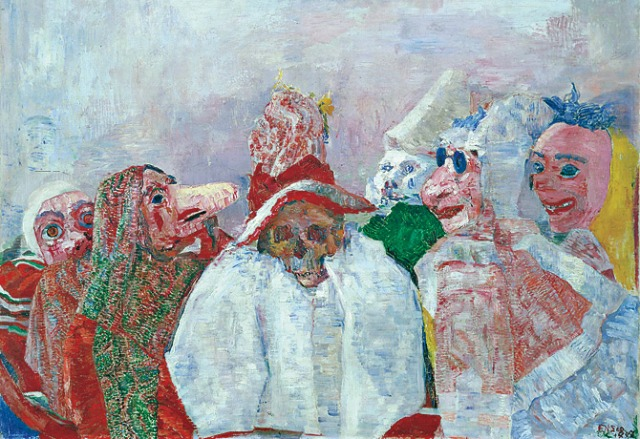 James Ensor, Masks Mocking Death (source: WikiArt)